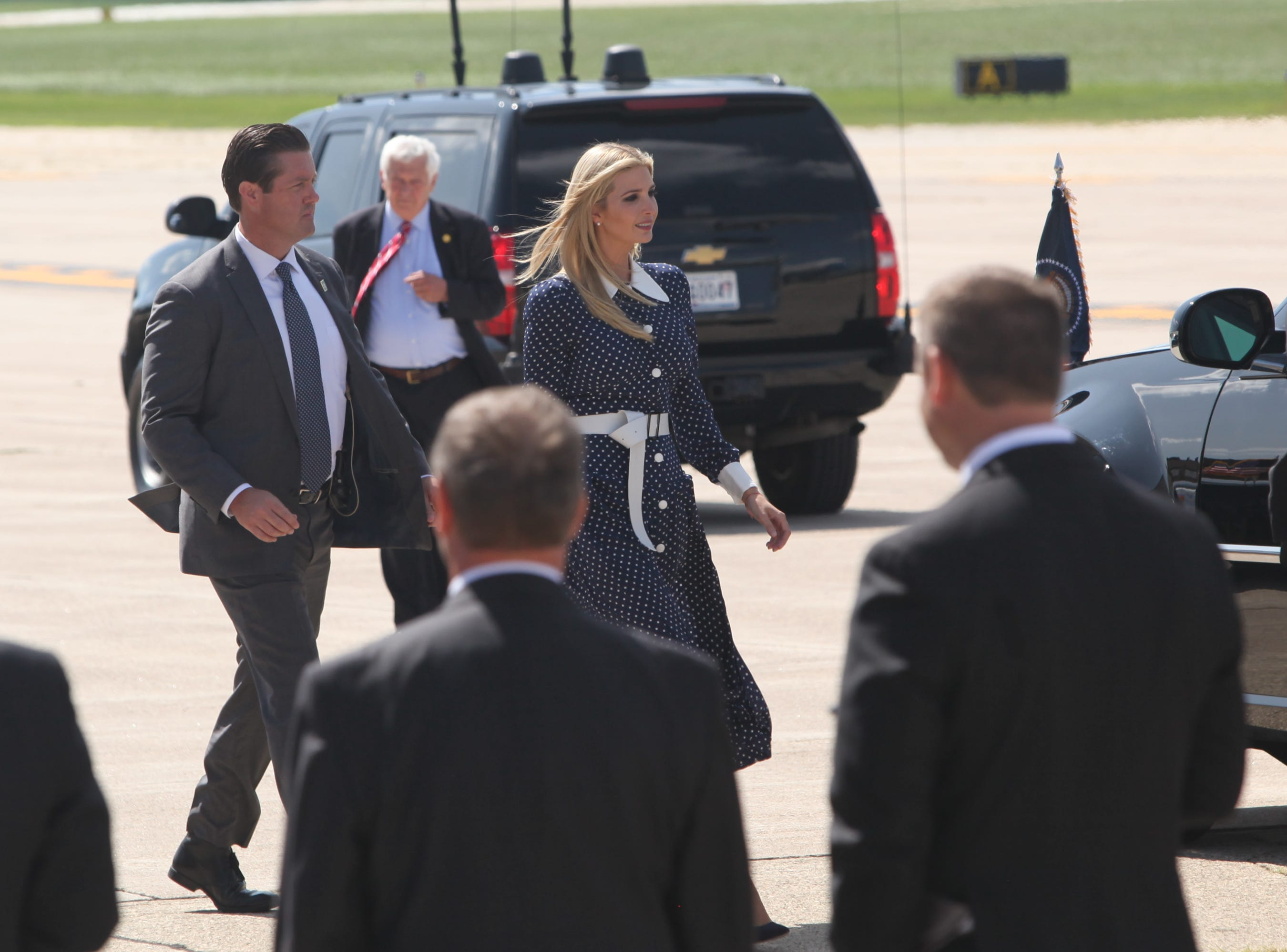 Ivanka Trump (center) arrives with President Donald Trump at Dubuque Regional Airport in Dubuque, Iowa, on Thursday morning, July 26, 2018. Trump will be visiting Northeast Iowa Community College to participate in a roundtable discussion about workforce development.