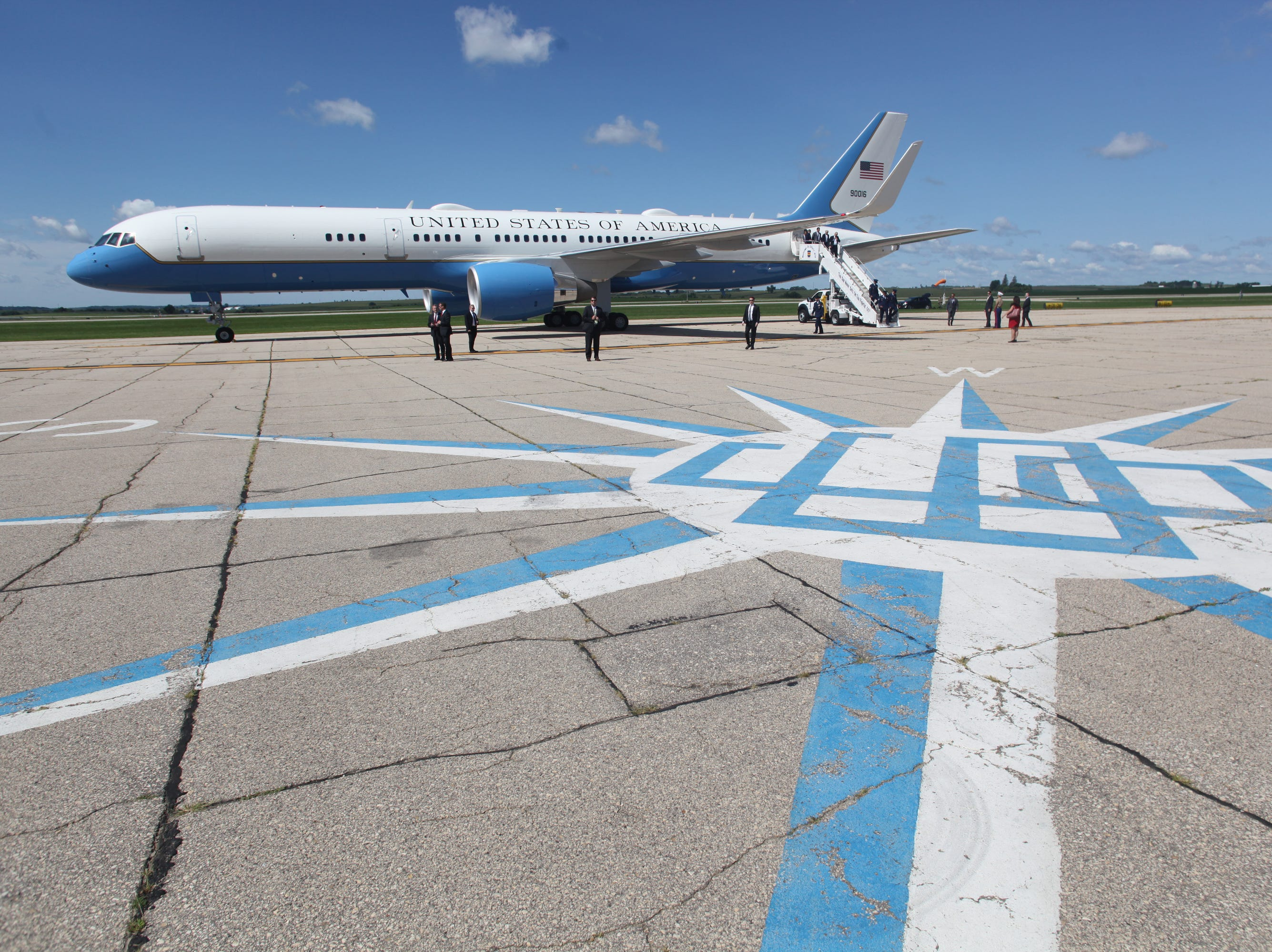Air Force One sits on the Tarmac at Dubuque Regional Airport in Dubuque, Iowa, on Thursday morning, July 26, 2018. Trump was in the state to participate in a roundtable discussion about workforce development at Northeast Iowa Community College in Peosta, Iowa.