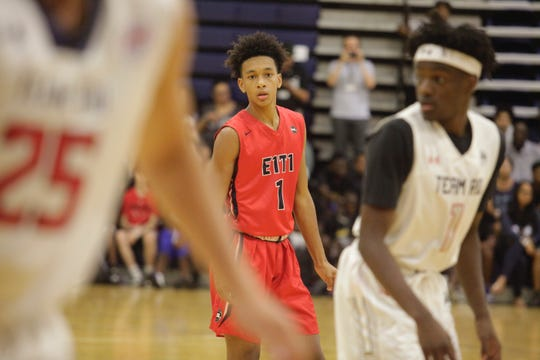 Iowa State point guard target Tre Mann (1) looks at the basket during the Fab 48 in Las Vegas.
