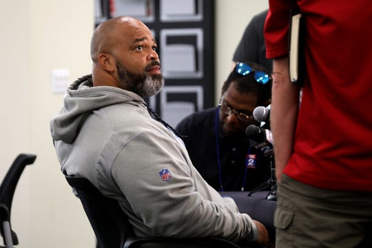 Lions defensive line coach Bo Davis talks to the media on Thursday, July 26, 2018., in Allen Park.