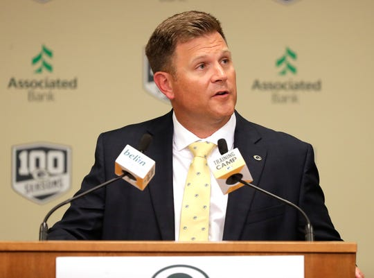 Green Bay Packers general manager Brian Gutekunst talks during the team's annual meeting in 2018. The meeting was chased indoors by thunderstorms. Gutekunst's third annual meeting in July will be similar. The Packers have decided to have a virtual meeting in response to coronavirus precautions.
