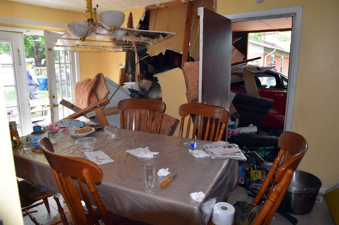 A Honda crashed Thursday into a home in the 3900 block of Alsace Place on the northeast side. No one was injured.