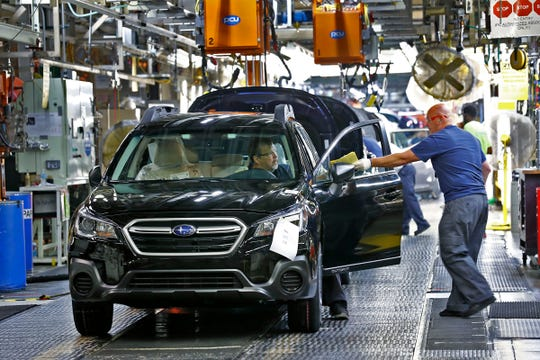 Cars are ready to come off the line at Subaru Indiana Automotive. in Lafayette, Thursday, July 25, 2018.  The Indiana plant is the first automaker in North America to go zero landfill, meaning the plant with 5600 employees that produces 350,000 cars a year sends nothing to a landfill.