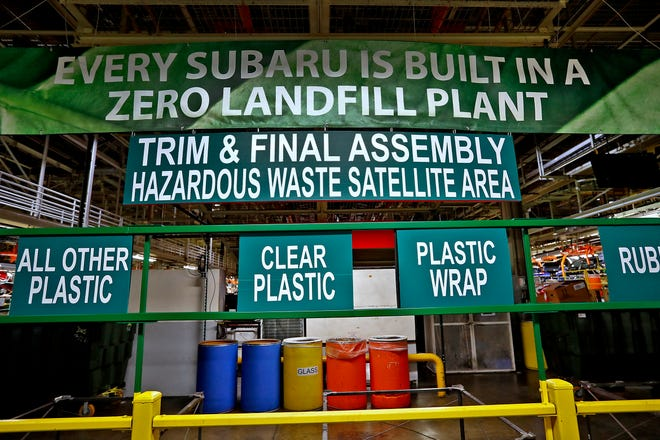 This is a trim and final assembly and hazardous waste accumulation satellite area at Subaru Indiana Automotive. in Lafayette, Thursday, July 25, 2018.  The area is a collection area for hazardous and non-hazardous waste.  Hazardous waste is disposed of.  Non-hazardous waste from this area is taken by Heritage Interactive Services, sorted, and transported to recyclers.  Hazardous waste is disposed.  The Indiana plant is the first automaker in North America to go zero landfill, meaning the plant with 5600 employees that produces 350,000 cars a year sends nothing to a landfill.