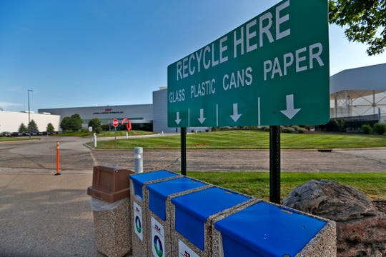 Recycle areas are seen all over Subaru Indiana Automotive. in Lafayette, Thursday, July 25, 2018, including in front of the main entrance.  The Indiana plant is the first automaker in North America to go zero landfill, meaning the plant with 5600 employees that produces 350,000 cars a year sends nothing to a landfill.
