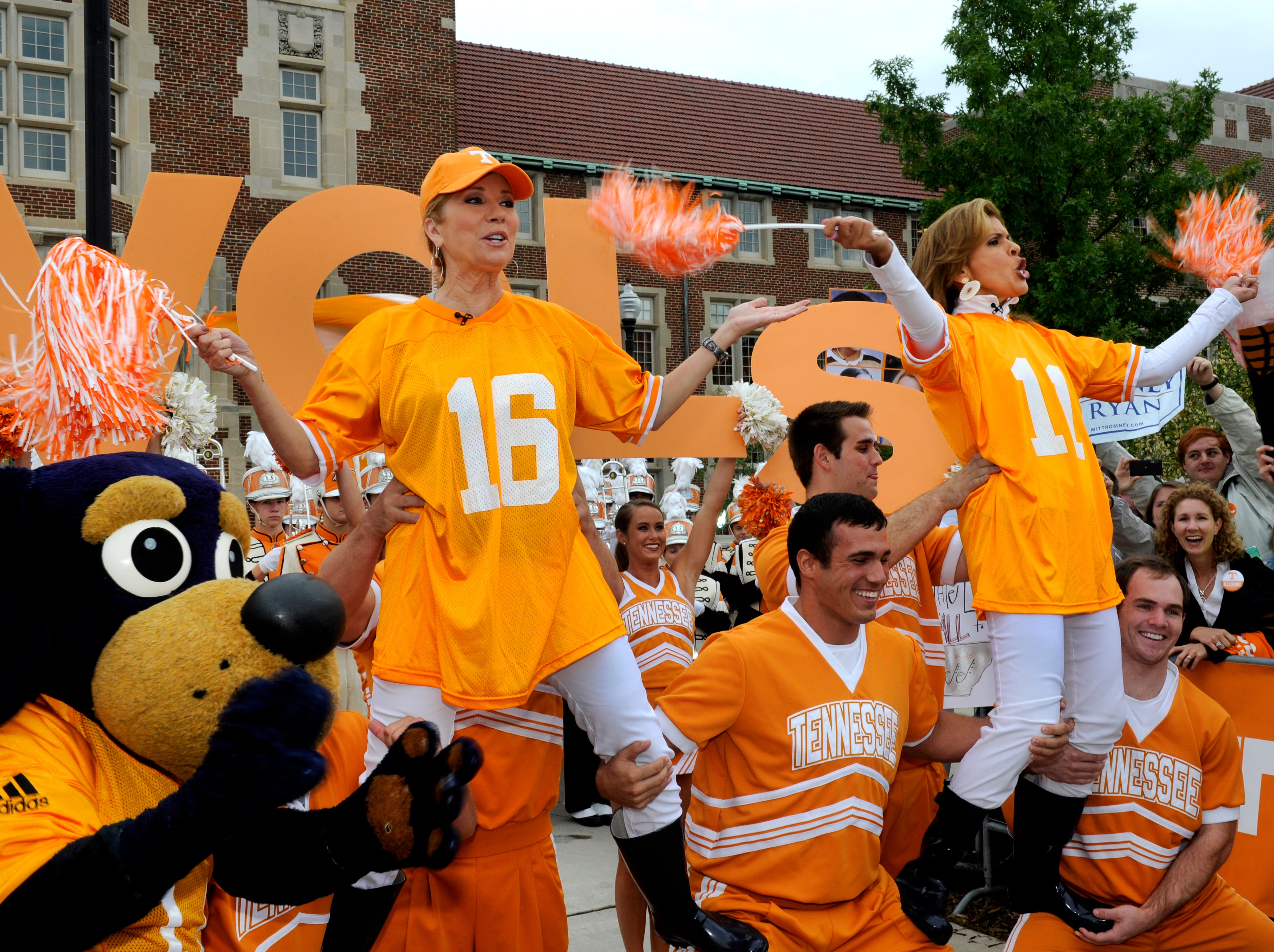 Hoda Kotb and Kathie Lee Gifford co-host of the fourth hour of NBC's 'Today' show cheer to Rocky Top with the UT cheerleaders during their broadcast from 'The Hill' on the University of Tennessee's campus Monday, Oct. 1, 2012.