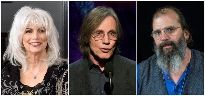"This combination photo shows, from left, Emmylou Harris, Jackson Browne and Steve Earle, who will be participating in a five-city concert series to support families who have been separated at the border due to immigration policies put into place by the Trump administration. The Women's Refugee Commission announced ""The Lantern Tour: Concerts for Migrant and Refugee Families,"" which will run from Oct. 23 thru Oct. 28, 2018. (AP Photo)"
