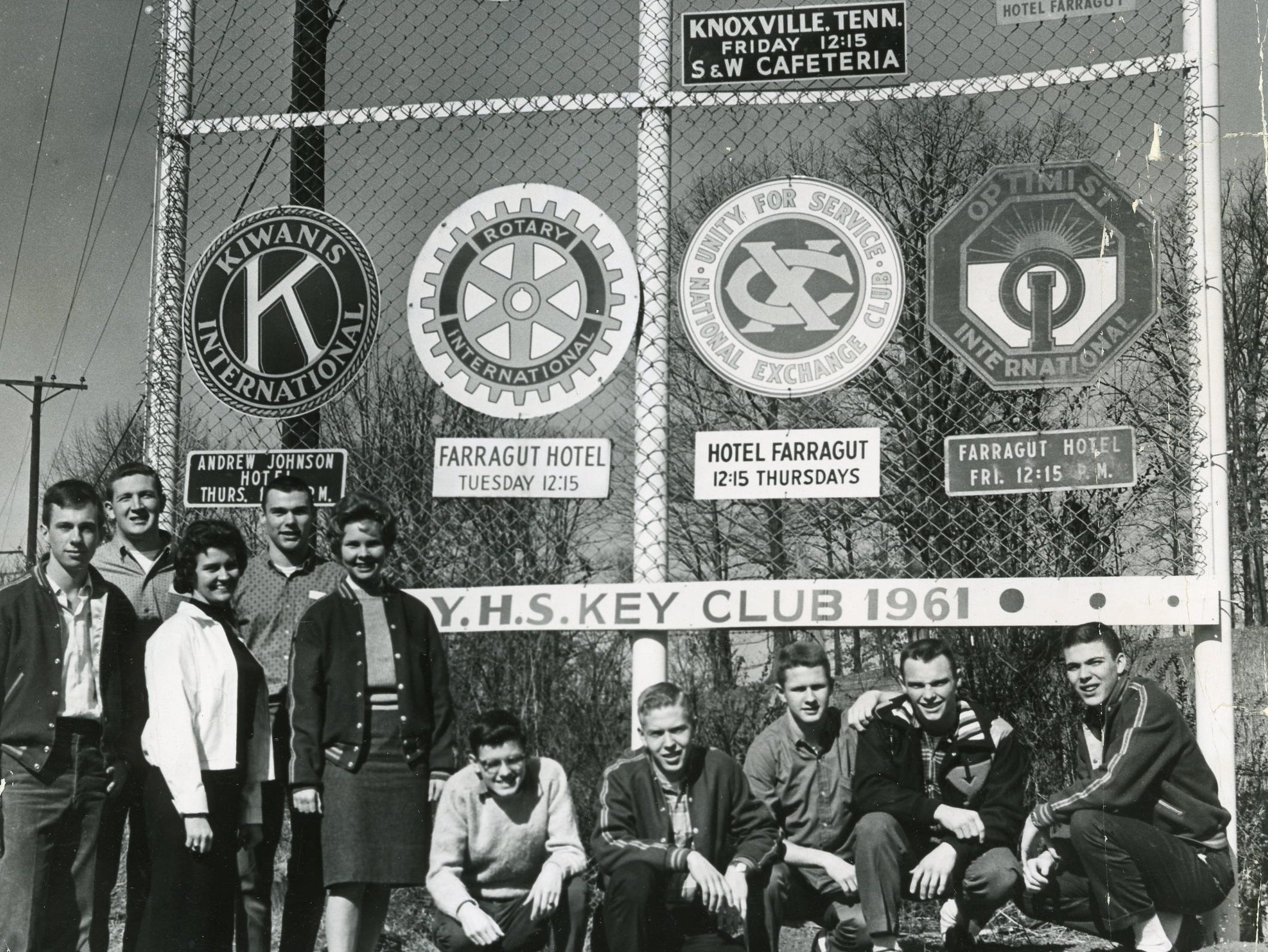 Young High Key Club members with their sign, February, 1961. Pictured are (front) Kent Campbell, Brenda Williams, Prissy Crisp, Dalton Townsend, Bill Abler, Bob Atkins, Bob Kidd, Clarence Walker; (back) Carl Galyon and Paul Davenport.