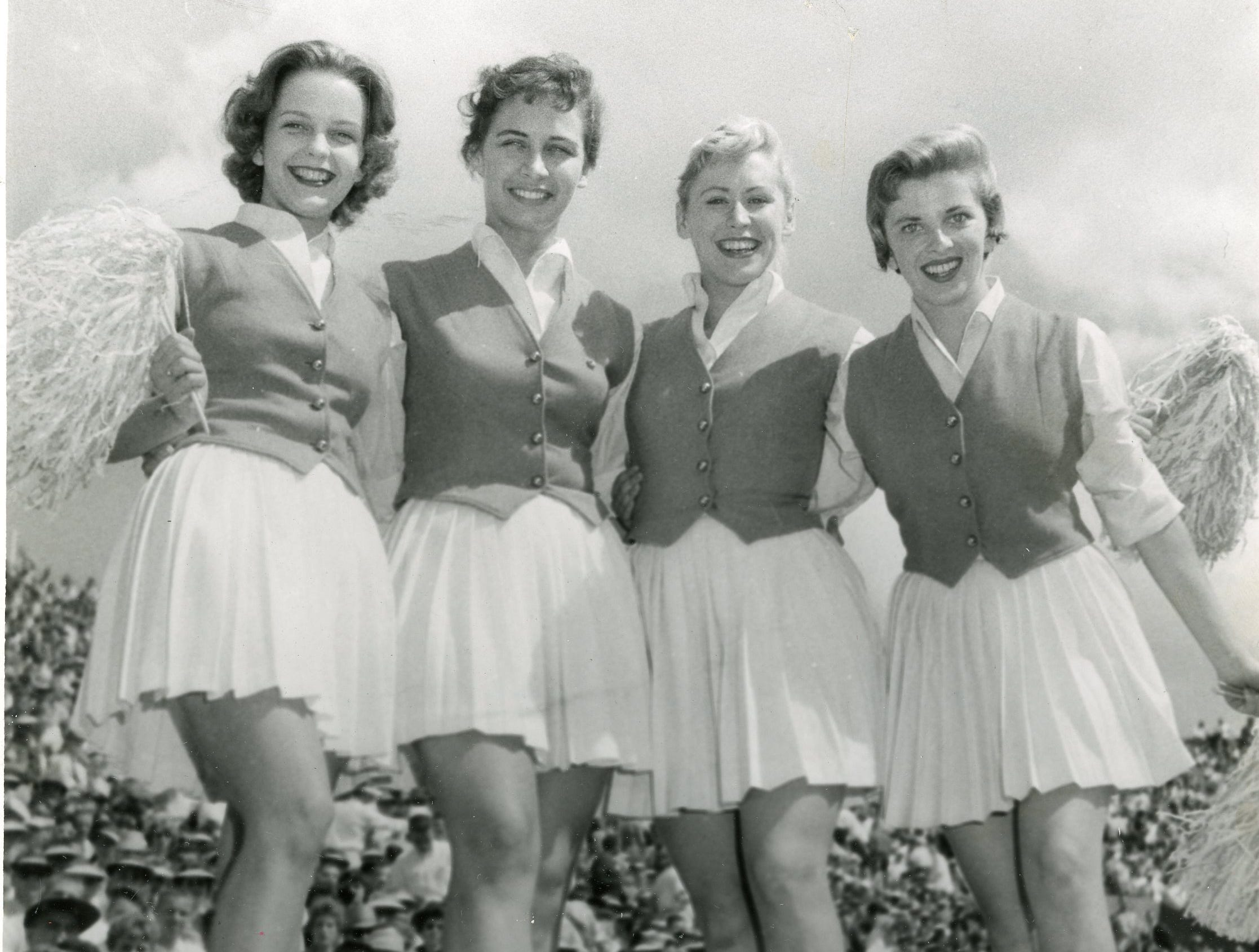 Cheerleaders on the 1959 UT squad included Linda Hendrifson, Gradye Lee Jaques, Patsy Coile and Joy Travis.