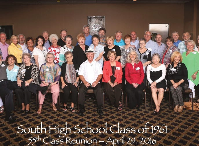 Contributed Photo The South High School Class of 1961 reunion was held at the Bearden Banquet Hall, and a luncheon took place at RJ's Courtyard restaurant on Alcoa Highway. First row from left are Cliff (Buddy) Mount, Mary Morton Mallicote, Betty Gabbard Wills, Rose Marie Wester Poe, Carol Kiser Robertson, Joel Brown, Polkie Crumbliss Gregory, Anne Edmondson Taylor, Mary Lee Wallace Blair and Pat Hill Yeatman. Second row from left are Anna Marie Jones James, Judy Garber Pickens, L.P. (Buster) Ford, Carolyn Hedrick Parton, Janice Scalf Mink, Linda Henderlight Hackney, Linda Jordan, Carolyn Massie Peoples, Pat Walrab Winkle, Bobbie Gass Dyer, Lana Maloy McCarter, Alice Faye Richards, Susan Chandler Hensley and Mary Nell Howard Ellis. Third row from left are Ron Houser, Ron Bowling, Ray Coker, Carl (Buddy) Smith, Ken Canup, Ray Moore, David Bodenheimer, David Wade, Jim Hendren, Sam Darden, Edward Clabough and Evelyn Sentell Aiken. Not pictured are Vic Arwood, Moquita Hurst McCrainie and Judy Simpson Frahme. Teachers Ira Gladson and Joyce Underwood also attended the event. 2016