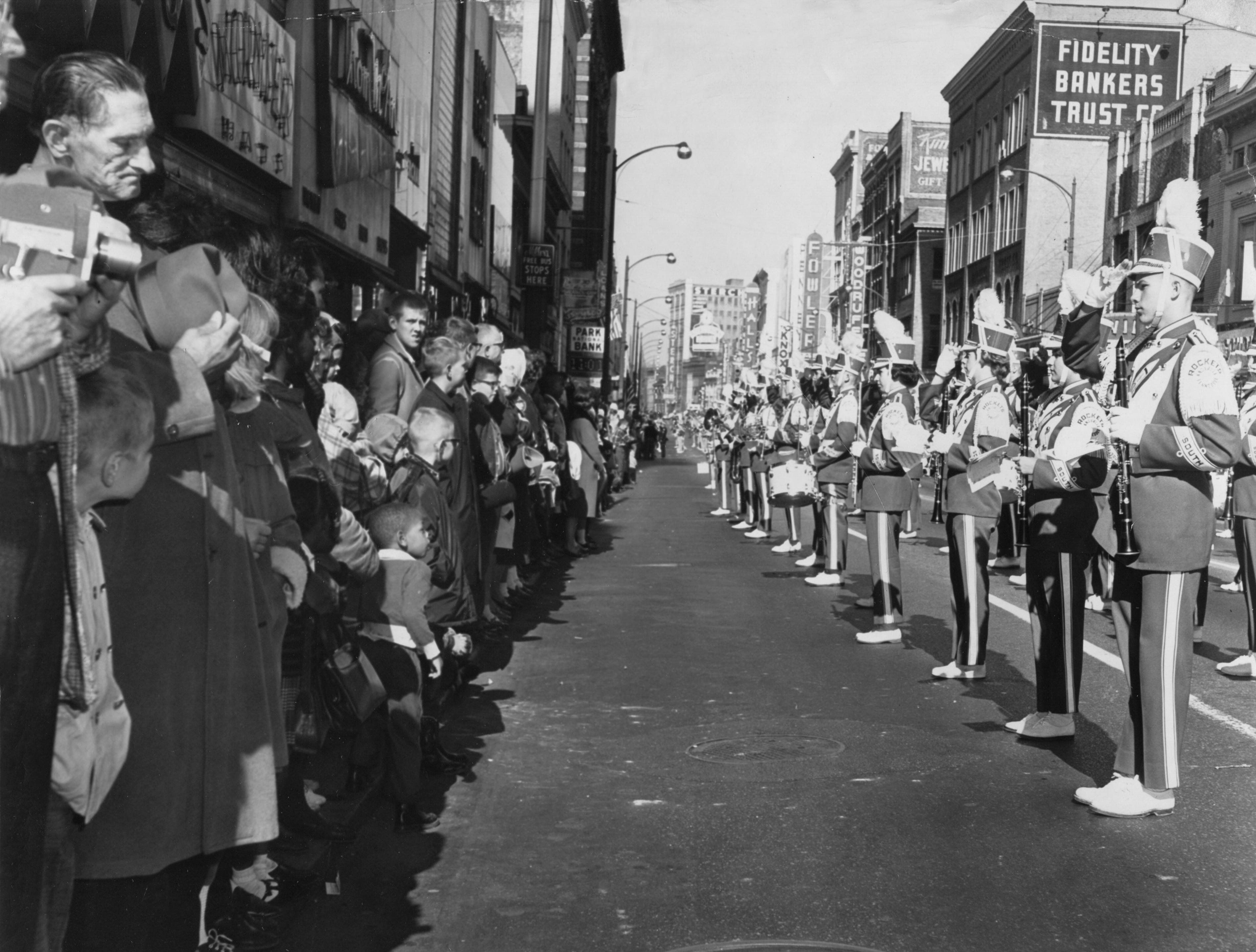The South High School band takes part in the Veterans Day parade on Nov. 11, 1963, on Gay Street.
