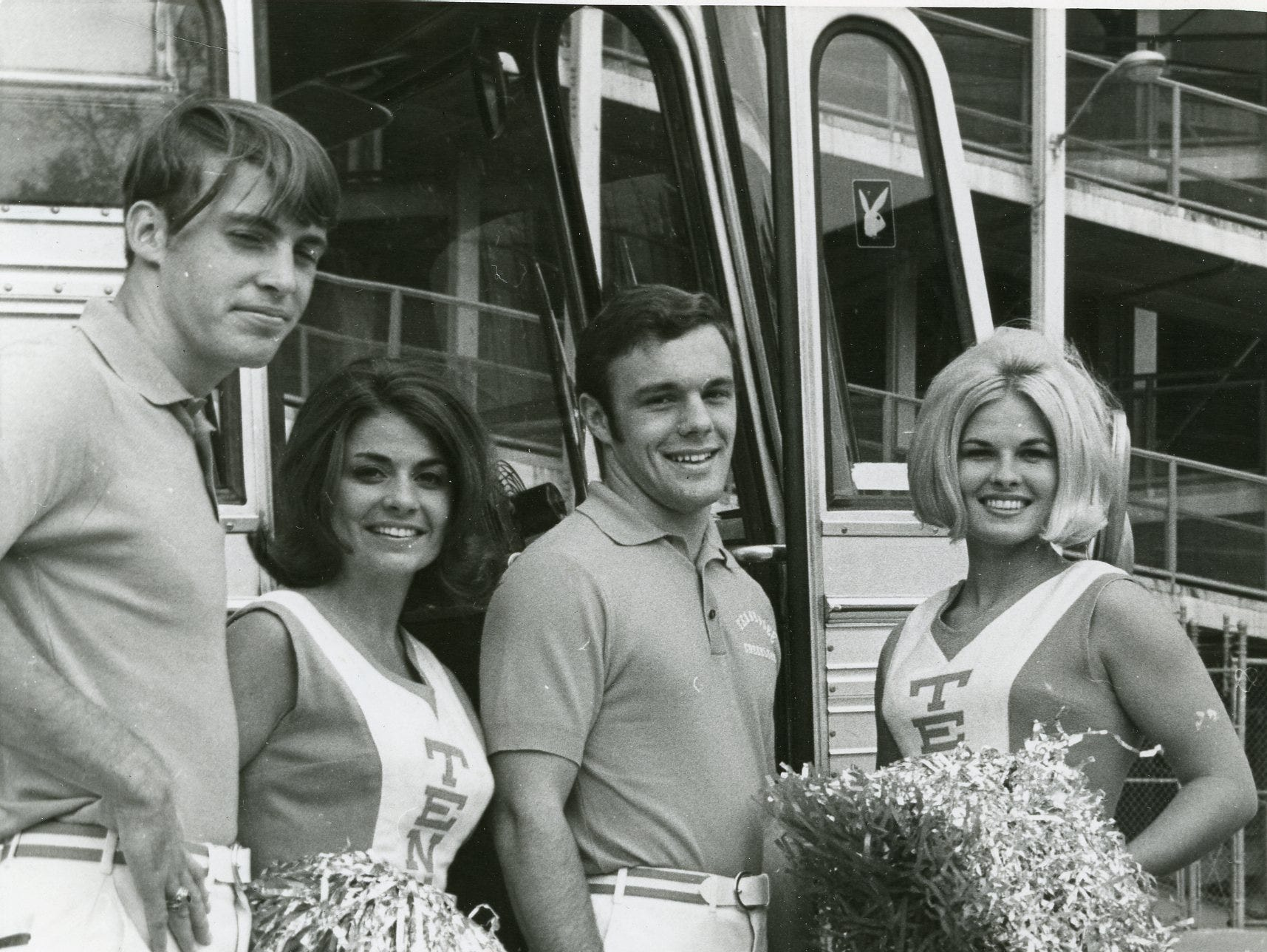 UT cheerleaders Joe Kitchell, Jeannie Gilbert, Bob Bratton and Christy Jones, October, 1969.