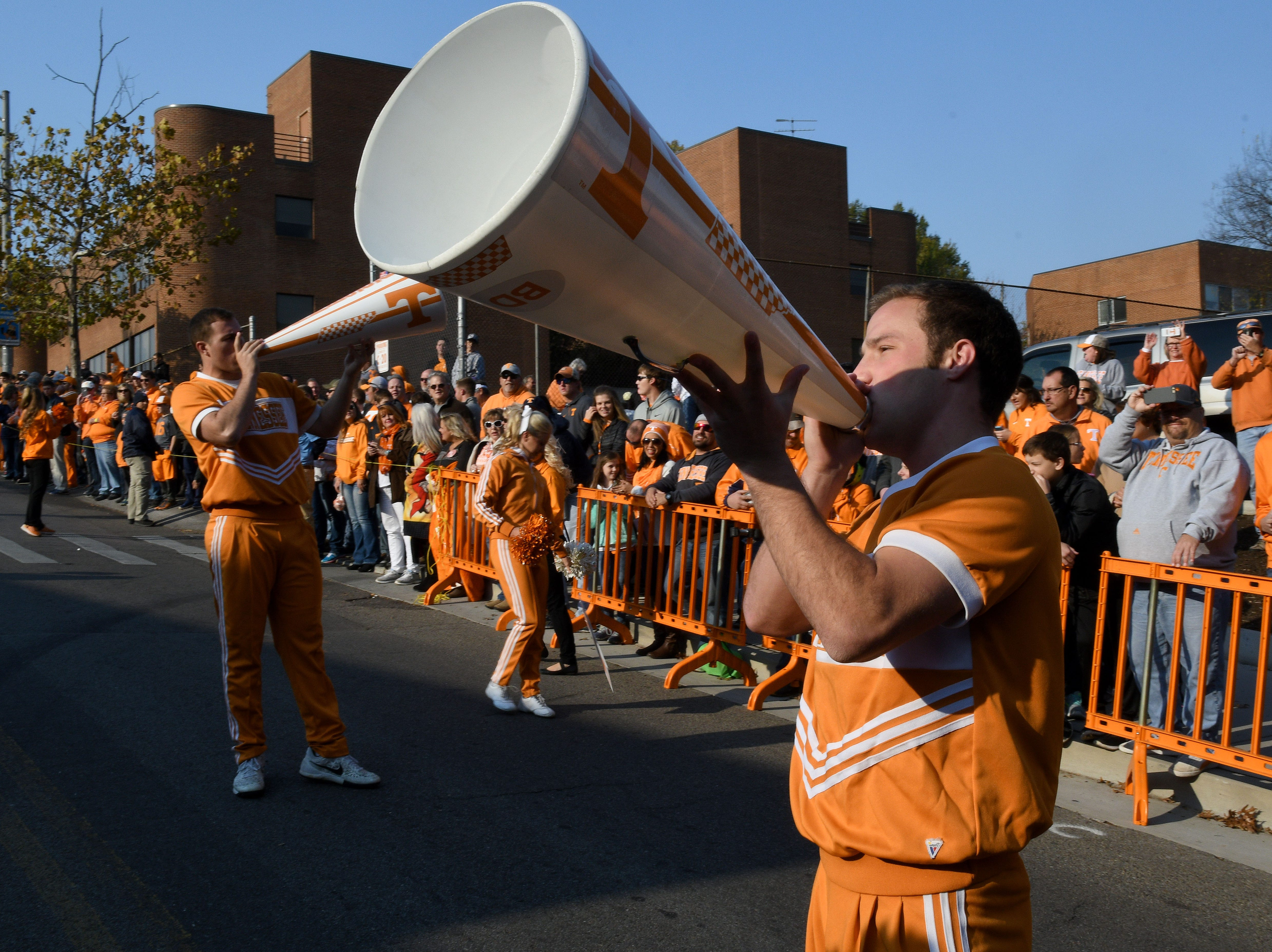Tennessee cheerleaders prepare fans for the Vol Walk before their game against Kentucky in Neyland Stadium Saturday, Nov. 12, 2016 in Knoxville, Tenn.