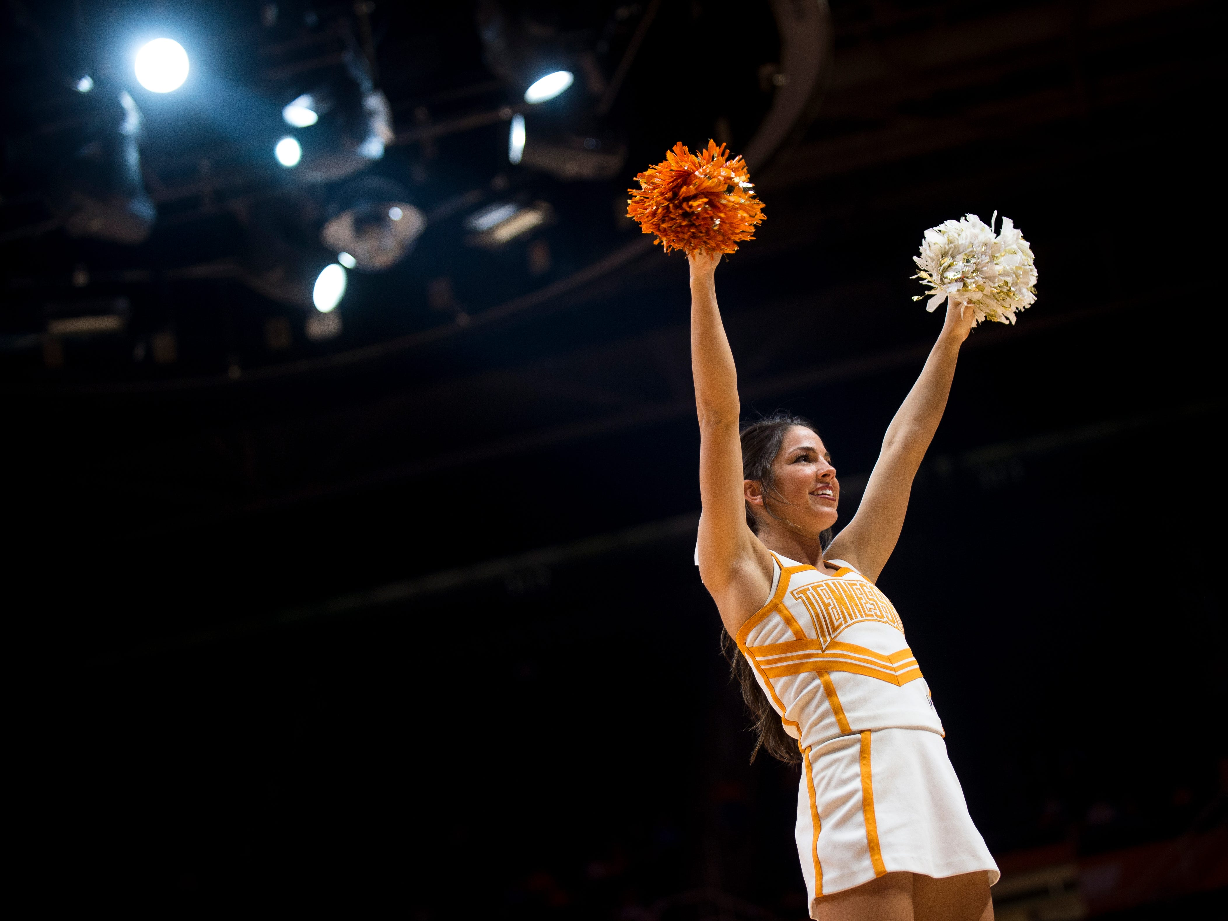 Tennessee cheerleaders during a time out during Tennessee's game against Vanderbilt at Thompson-Boling Arena on Wednesday, Feb. 22, 2017. Tennessee lost to Vanderbilt 67-56.