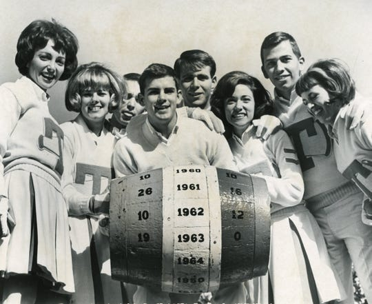 UT cheerleaders with the beer barrel before the November 21, 1964 game against Kentucky.