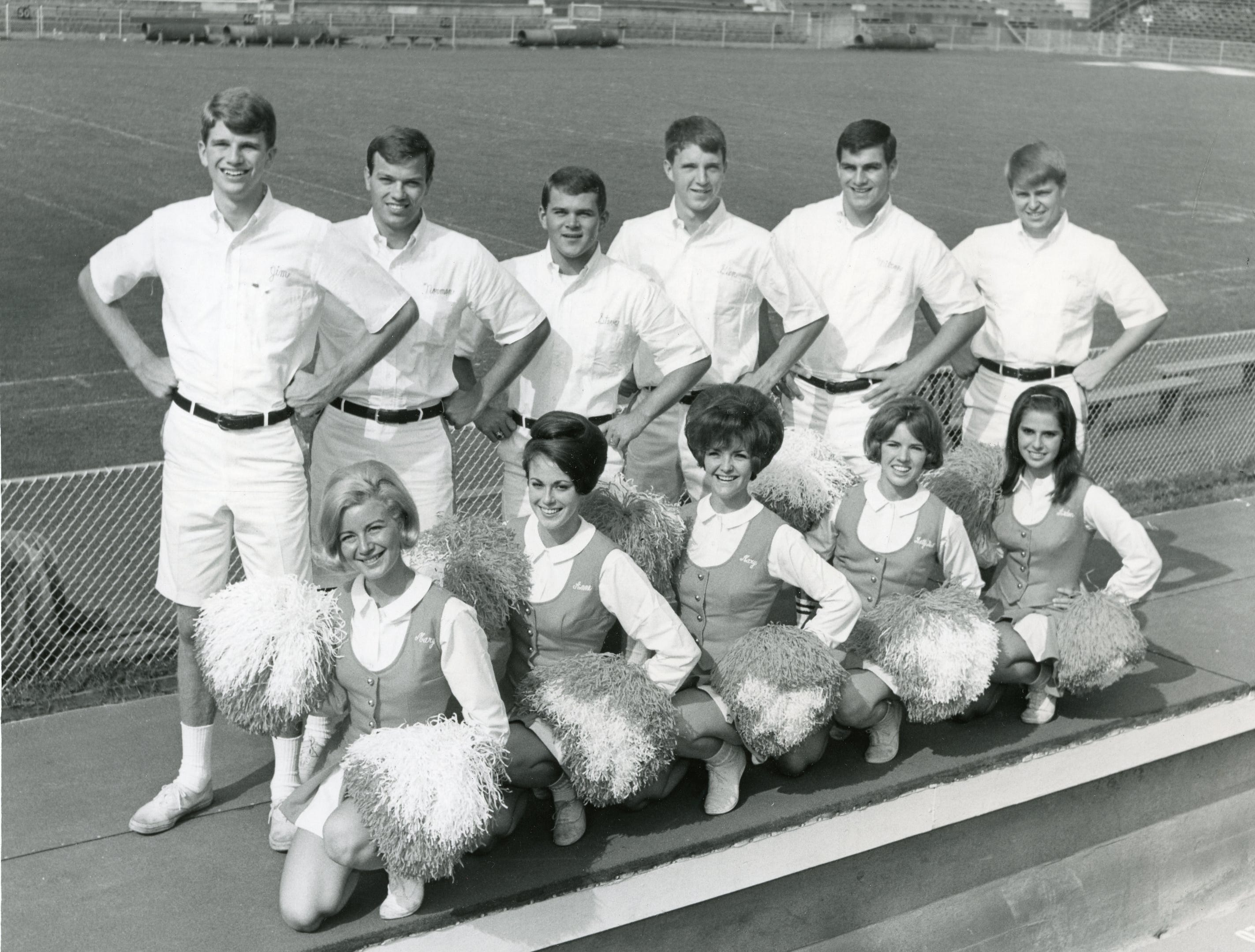 University of Tennessee cheerleaders, September, 1965, included (front) Mary Huddleston, Franny McClain, Mary Gwyn, Betty Gail Cooper, Arden Sampson; (back) Jim O'Steen, Norman Estep, Steve Hambaugh, Glen Smotherman, Milton Ellis and Terry Abernathy.