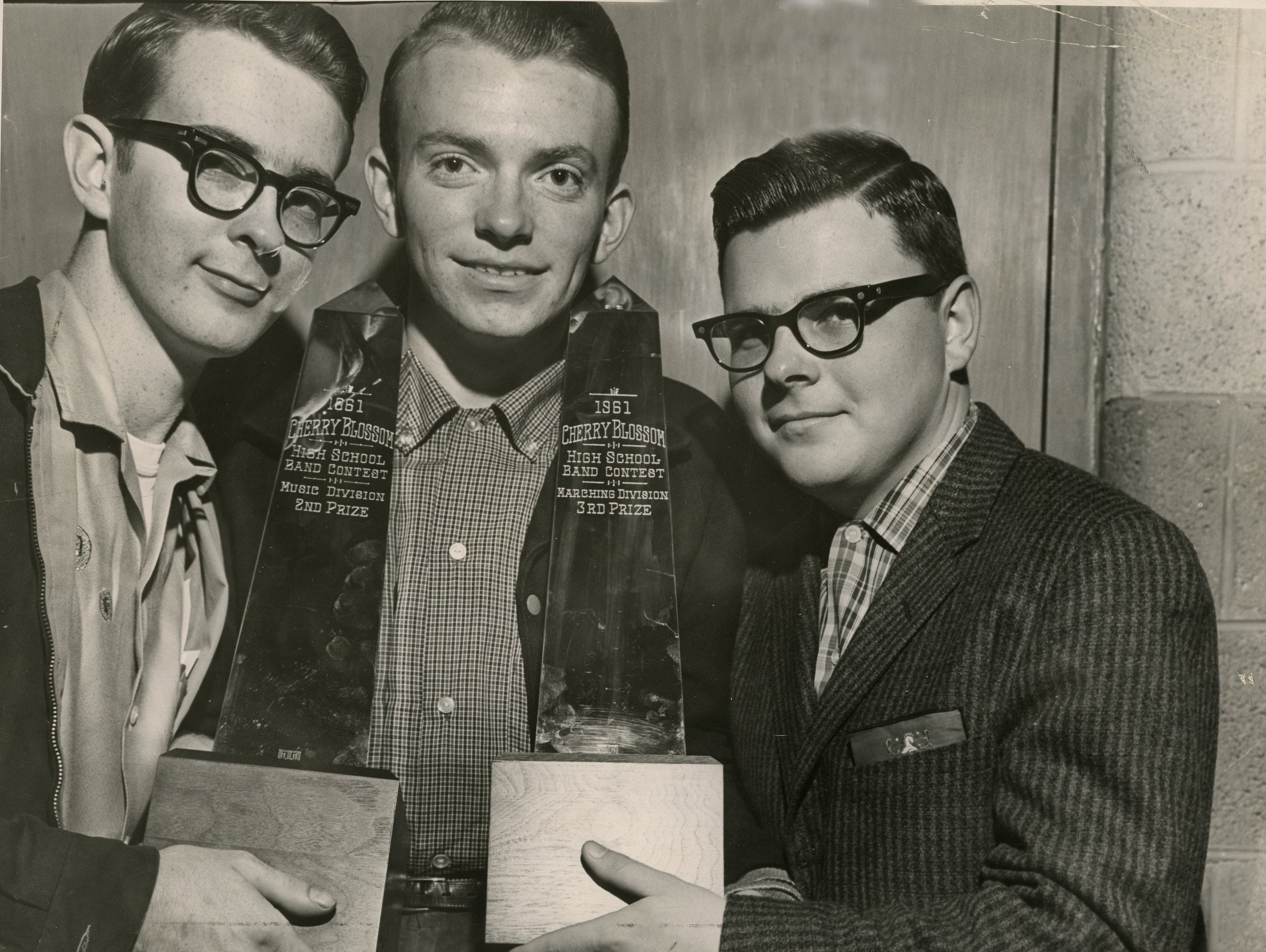 Young High band officers, Jim Hall, Joel Burnett and Joe McNew. April, 1961