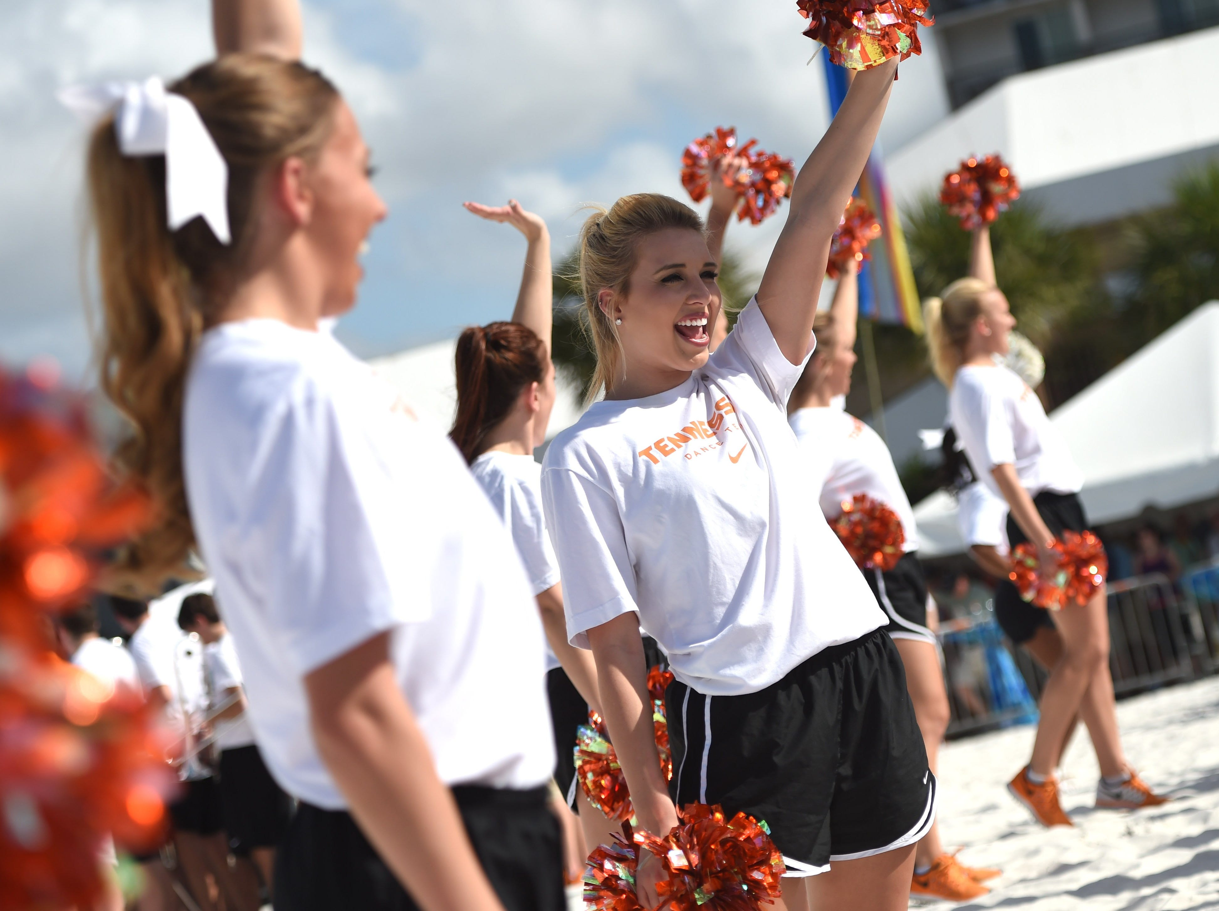 Tennessee cheerleaders wave to the crowd during Outback Bowl activities at Hilton Clearwater Beach in Clearwater, Fla. on Wednesday, Dec. 30, 2015.