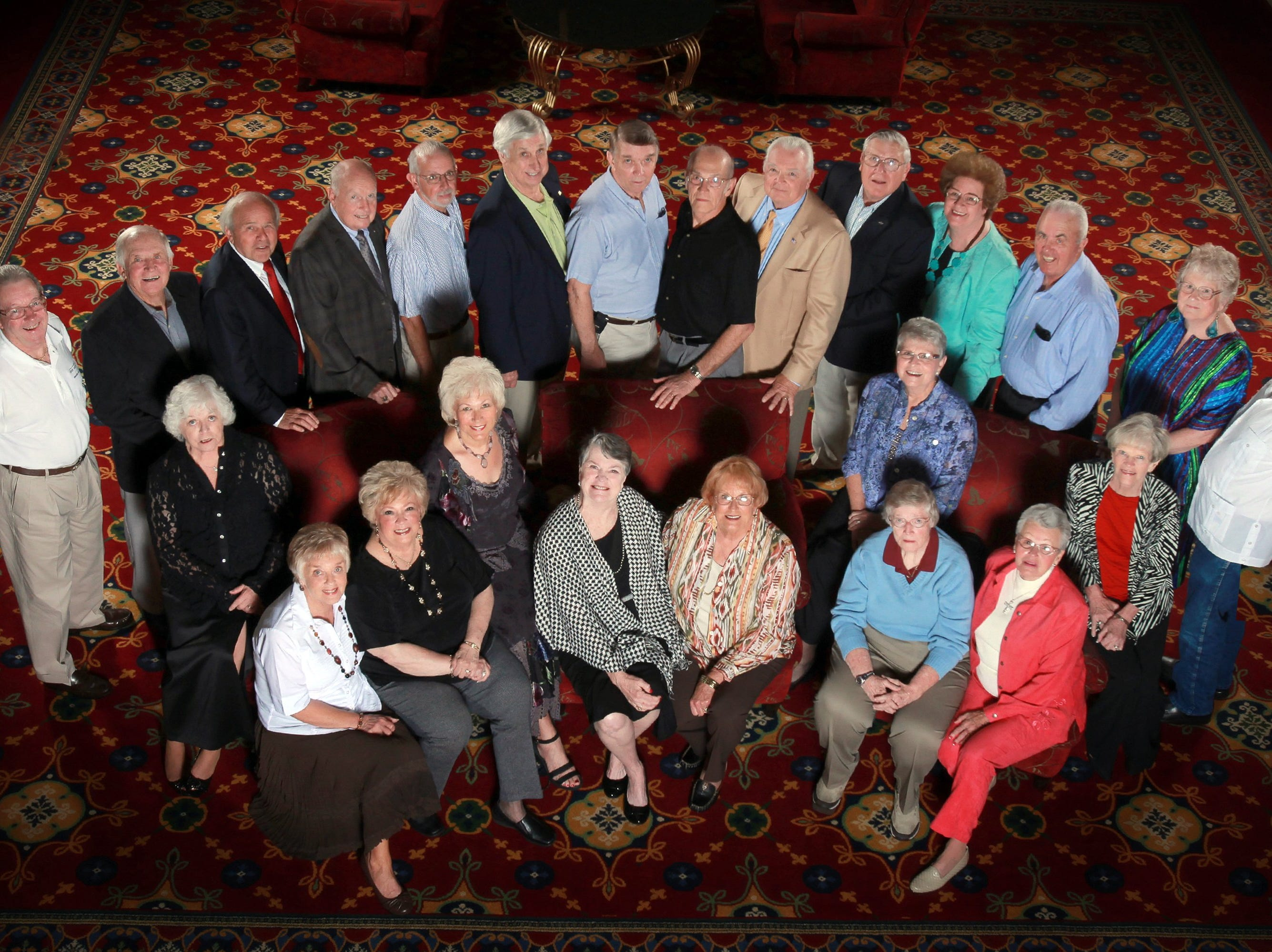 """Special to the News Sentinel Members of the South High School class of 1956 gathered for a reunion at the Marriott Hotel in Knoxville on recently. Attendees included, third row, from left, Hugh """"Sonny"""" White, Carroll """"Fuzzy"""" Jones, Dickie Sams, Gene Mowery, Pete Zurcher, Robert Arwood, Don Nelson, Glenn Anderson, Gary Smith, John Cooper, Nancy Holcombe Sellers, Bill Berrier, Mary Wright McHarris, Bill Andre; second row, Judy Waller Moon, Eloise Lowery, Carol Ann Baumgardner Blythe, Ruth Ann Howard Berrier; first row, Ann Bales Harrison, Lemoyne Houck Clapp, Patty Stinnette Terango, Gerra Lynn Davis Mary, Mariana Davis, Dottie Crumbliss Householder."""