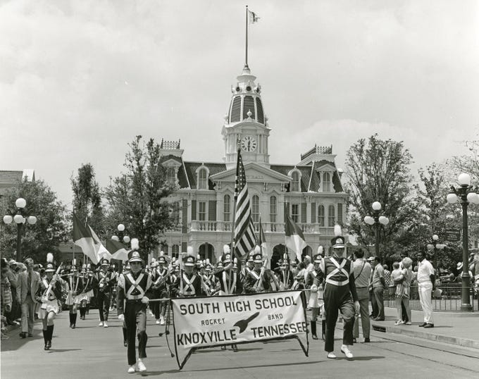The South High School marching band at Walt Disney World, April, 1972.