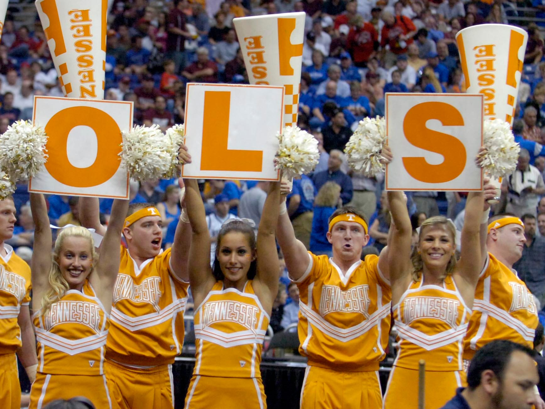 Tennessee cheerleaders back the Vols against Ohio State during the NCAA basketball tournament South Regional semifinals on Thursday in San Antonio, Texas. Tennessee lost the game 85-84.