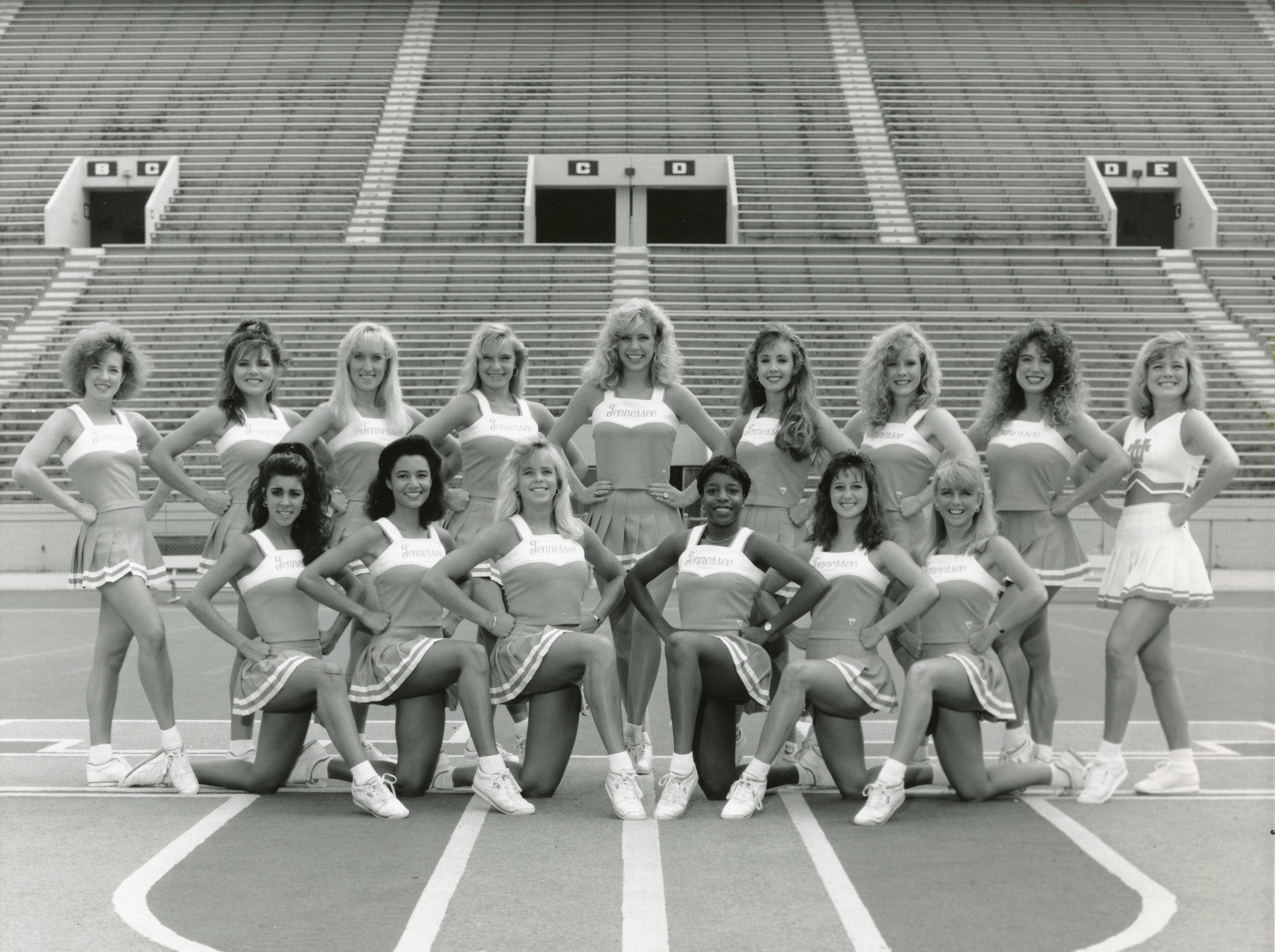 University of Tennessee spirit squad members (front) Krista Gould, Stephanie Bryant, Kristi Pollard, Gina Young, Kate Perrin, Jamie Dunbar; (back) Susan Howard, Rachael Noe, Laura Elkins, Natasha Stone, Lee Ann Nixon, Allison Clark, Stephanie Tipton, Kimberly Roberts and Emily Regal. September, 1991.