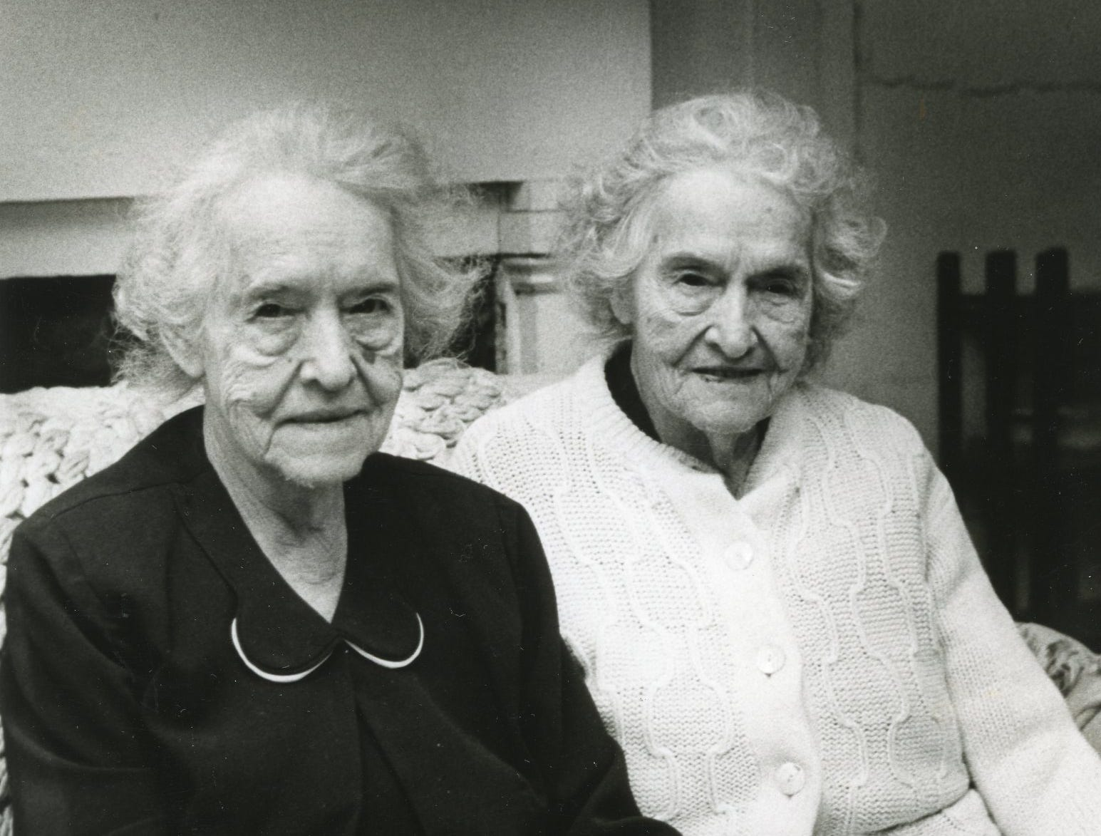 "Maude and Mabel Nichols, May, 1976. Caption on photo ""Among the first""."
