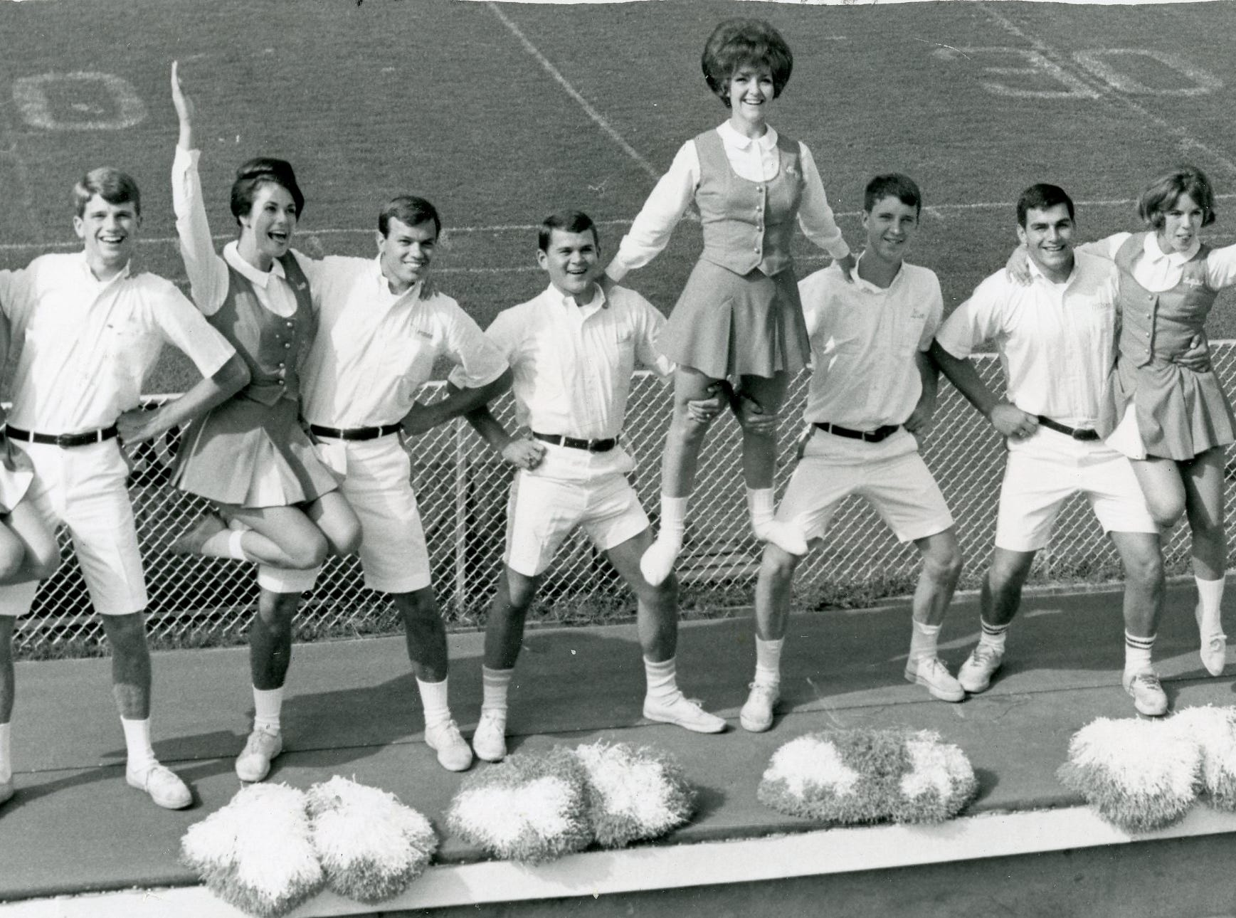 Stunting for the crowd in September 1965 were UT cheerleaders Mary Huddleston, Jim Osteen, Fran McClain, Norman Estep, Steve Hambaugh, Mary Gwyn, Glen Smotherman, Milton Ellis, Betty Gail Cooper, Terry Abernathy and Arden Sampson.