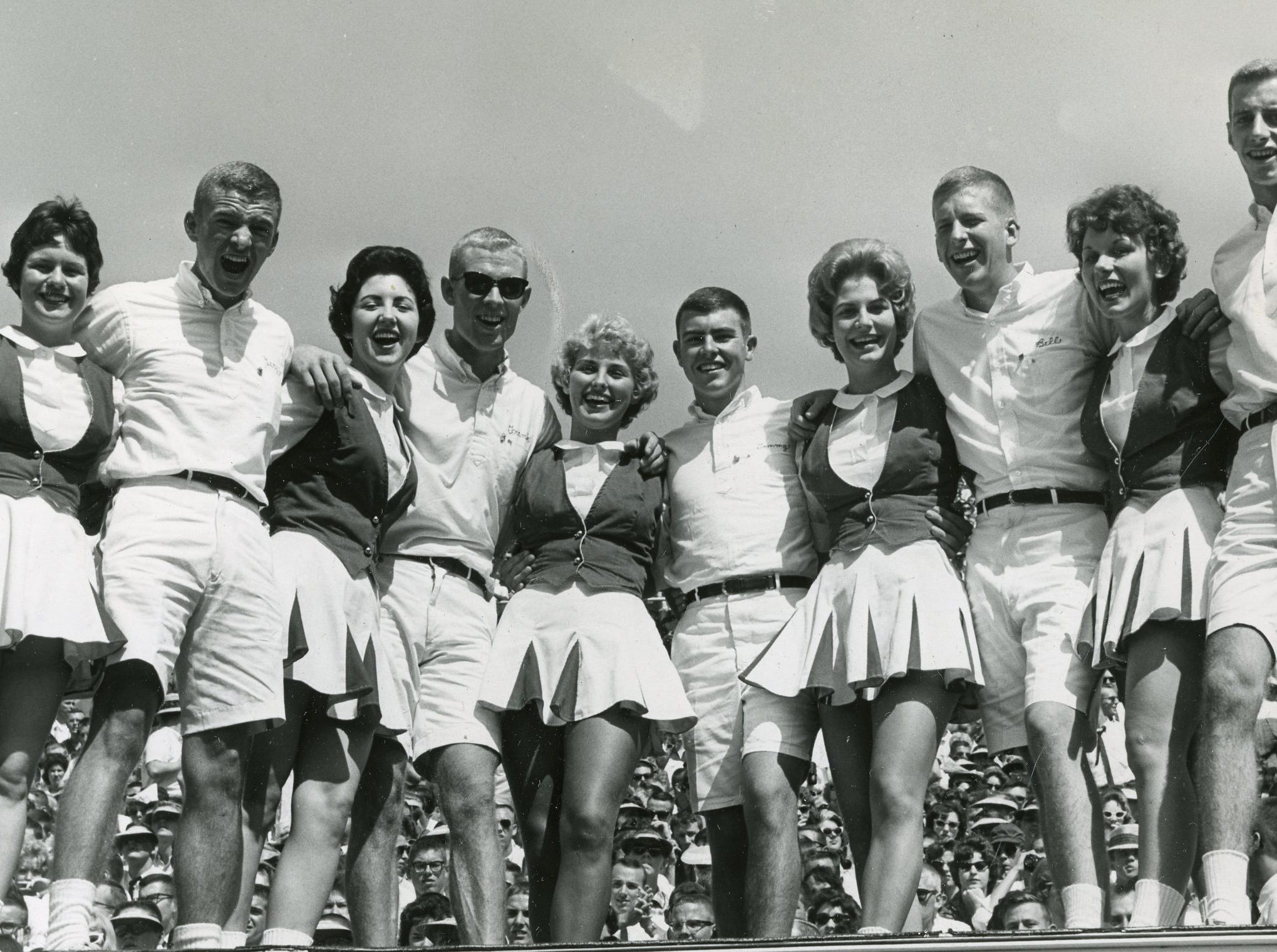 University of Tennessee cheerleaders included Ann Dixon, Gary Meyer, Martha Dempster, Frank Bowyer, Jr., Wallene Threadgill, Tommy Leek, Janet Stanford, Bill Cowan, Dola Faye Terry and Danny Nolan.