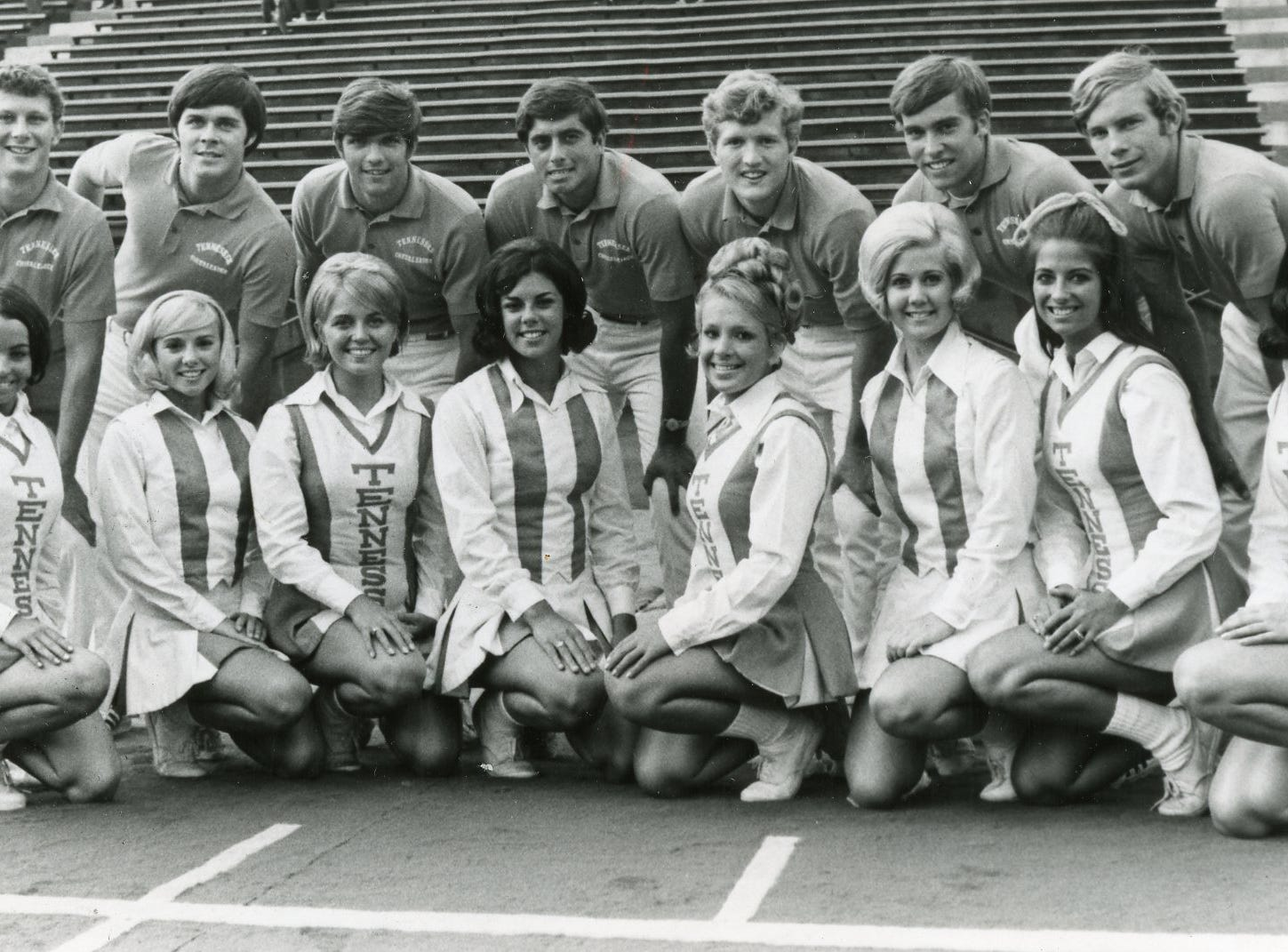 Members of the 1970 UT cheer squad include (front) Amy McClain, Pat Green, Betsy Minnis, Sharon Signaigo, Nancy Gritzner, Vicki Brummett, Jan Campbell, Lyn Eoff; (back) Joe Washington, Mike Carpenter, Bert Hewgley, Tony Rose, Richard Gardner, Jim Strang and Larry Waddington.