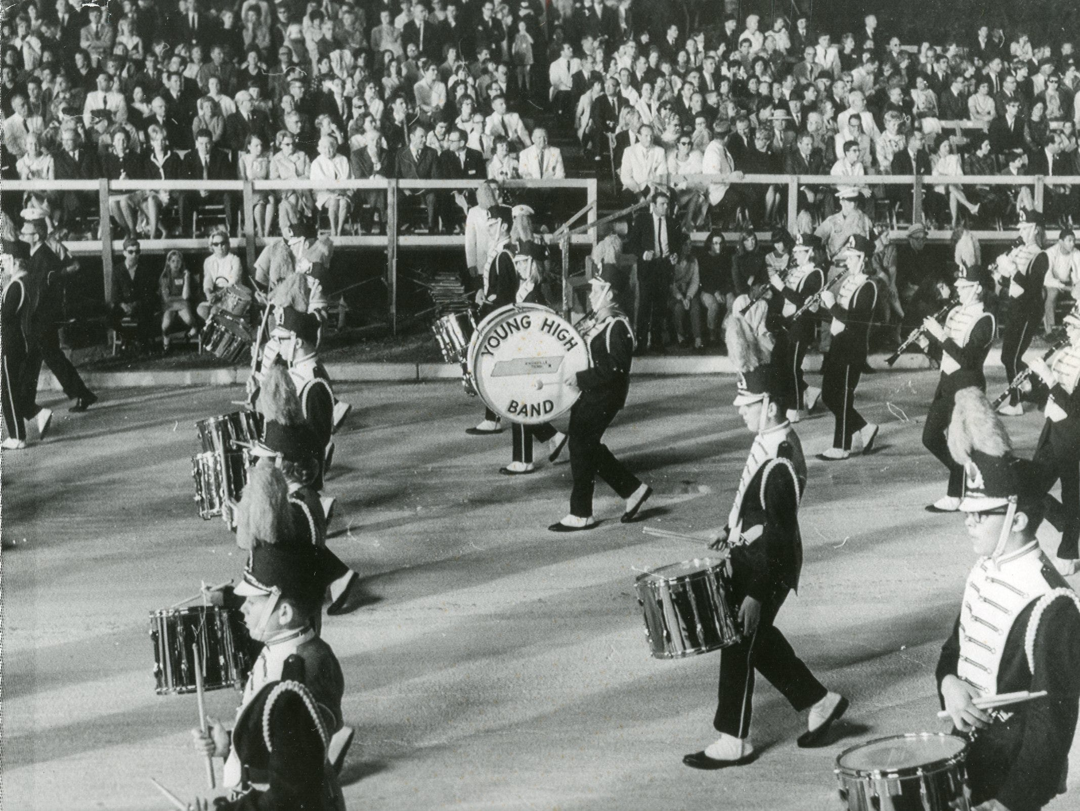 Young High marching band in the Orange Bowl parade, December, 1967.