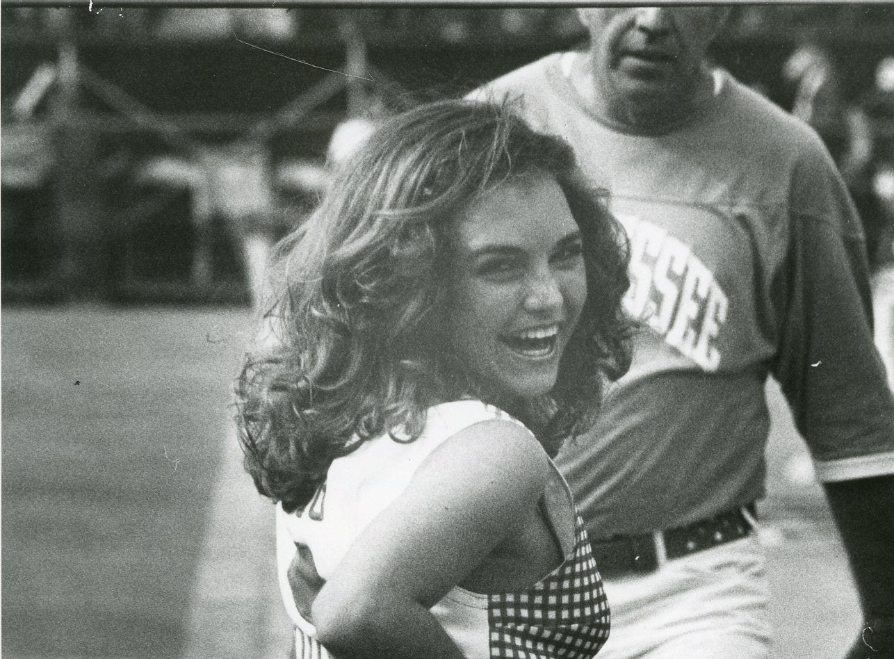 UT cheerleader Mary Lancaster, October, 1975.