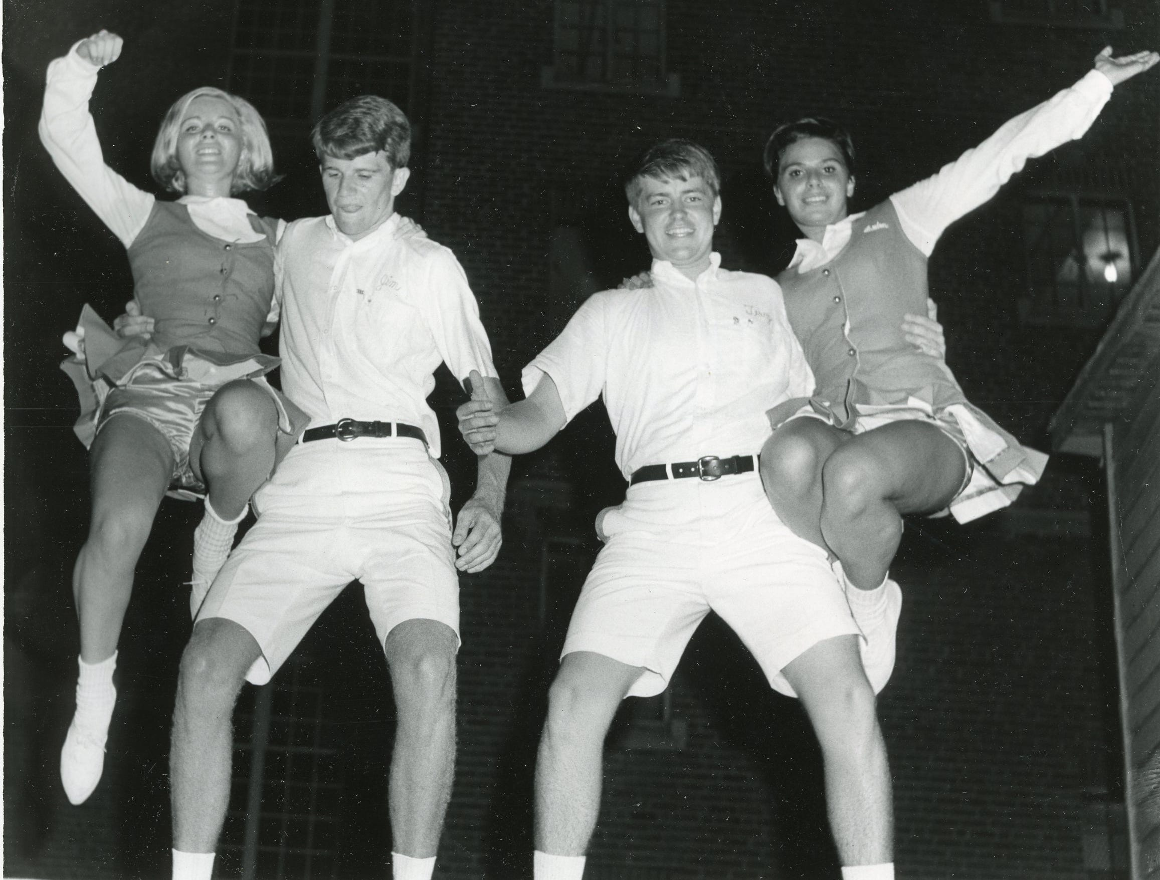 Mary Huddleston, Jim O'Steen, Terry Abernathy and Arden Sampson perform a stunt. September, 1965.