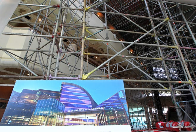 Views of the main lobby as construction workers work to restore the Kentucky Center for the Arts in Louisville, Kentucky.    July 26, 2018