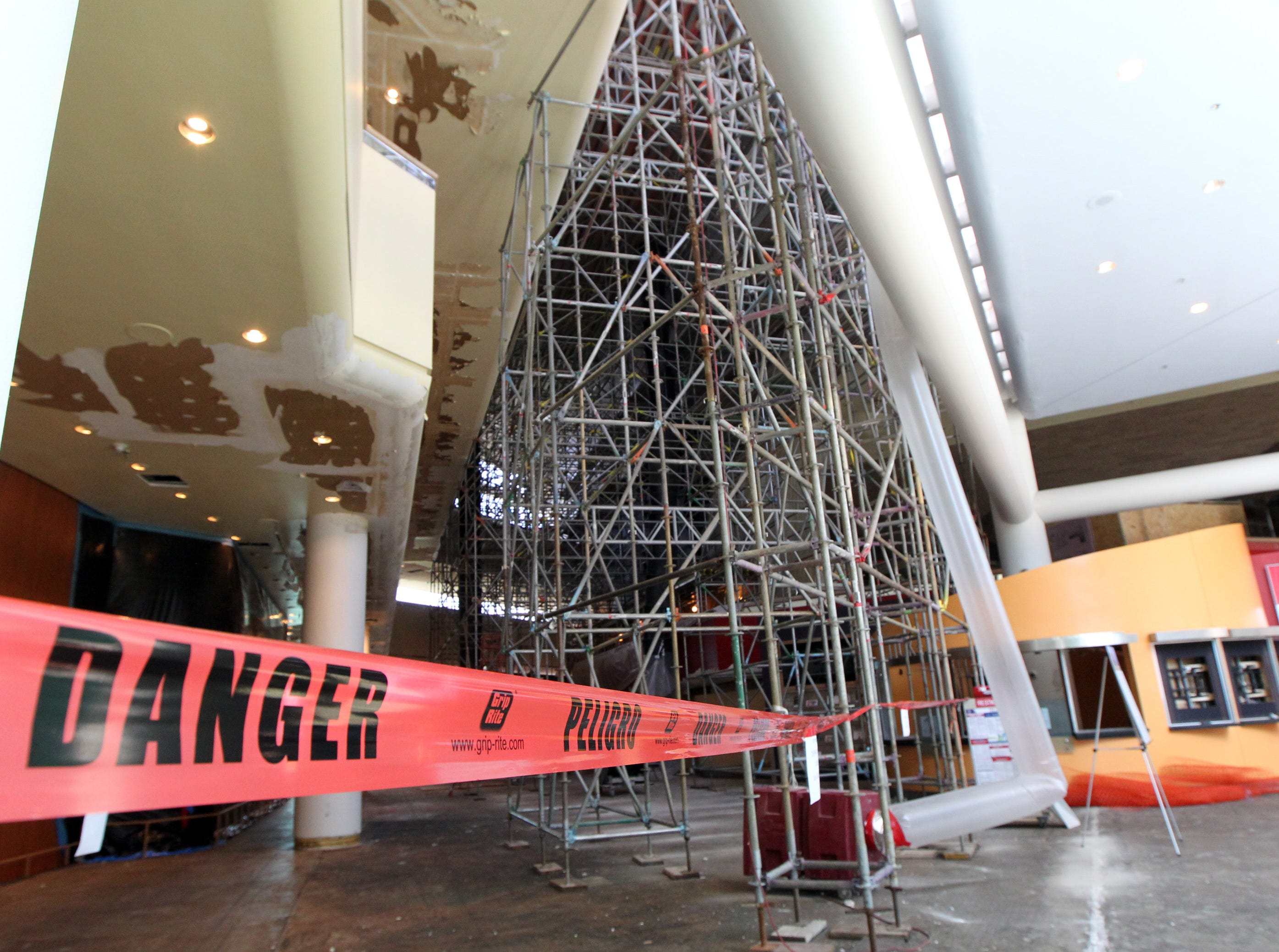 Views of the main lobby as construction workers restore the Kentucky Center for the Arts in Louisville, Kentucky.    July 26, 2018