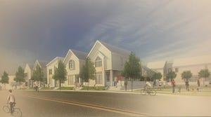 Proposed modern shotgun houses at the Urban Government Center in Paristown Pointe.