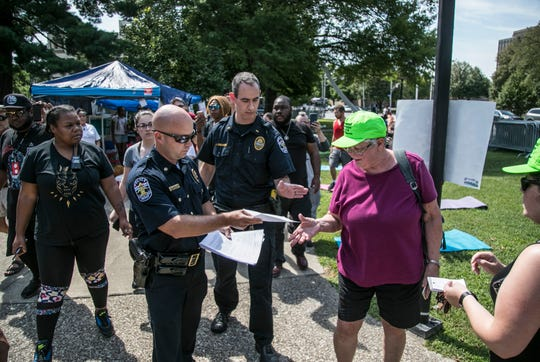 LMPD issues warning that Occupy ICE have one hour to leave the camp in order to comply with metro ordinance on Thursday afternoon July 26, 2018