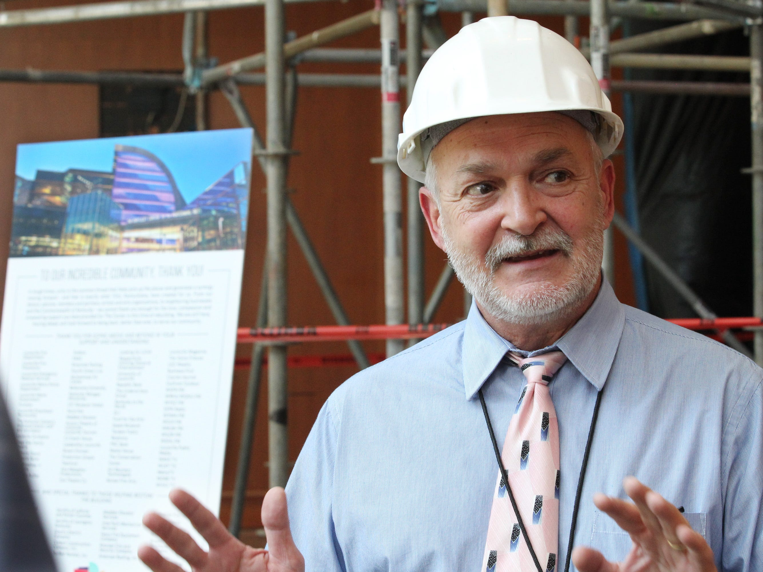 Kentucky Finance and Administration architect Andrew Casebier addresses the media during a press conference  on the condition of Kentucky Center for the Arts in Louisville, Kentucky.    July 26, 2018