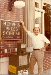 Vince Vawter, outside the old Memphis Press-Scimitar offices, 1977.