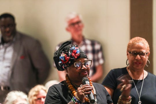 Carla Thomas speaks during a ceremony where Stax founder Jim Stewart donated his fiddle to the Stax Museum of American Soul Music.