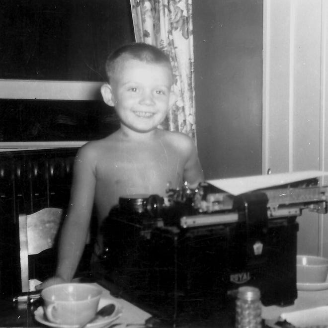 A born writer? Vince Vawter, 8, at the typewriter in his Midtown Memphis home, 1954.