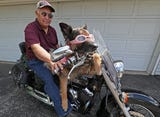 Jim Tremmel of Hales Corners and his motorcycle riding dog Molly go for a ride.