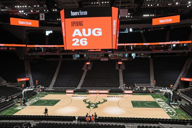 The floor of the new Fiserv Forum.
