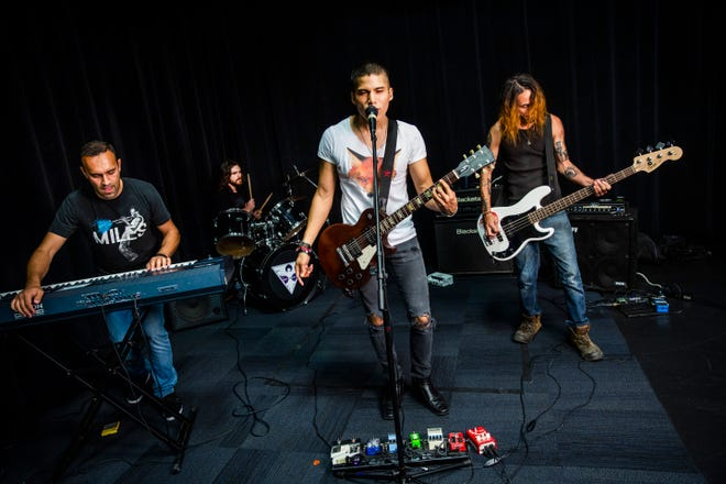 Perfect Sequence performs at the Naples Daily News studio on Wednesday, July 25, 2018. Members of the Naples rock band include keyboardist Dilyan Bogdanov, from left, drummer Skyler Lapham, lead vocalist Caleb Vilca, and bassist Todd Sloan.