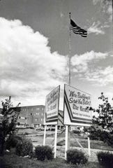 Signage outside The Record building in Hackensack during the 1980 expansion.