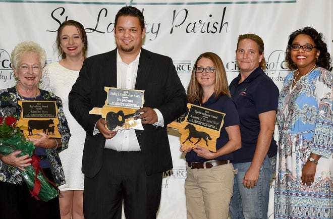 St. Landry Chamber of Commerce CEO Raquella Manuel, second from left,  and Angela Cassimere, chamber president, far right, present the recipients from Wednesday's  Horses and Harmony event. From left are Genevieve Lyons,  2018 Agriculture Award, Eric  Gautreaux,  Hadley J. Castille Music Award, and Susan Stites and Lori Dartez, representing the Academy of the Sacred Heart in Grand Coteau, 2018 Equine Award.