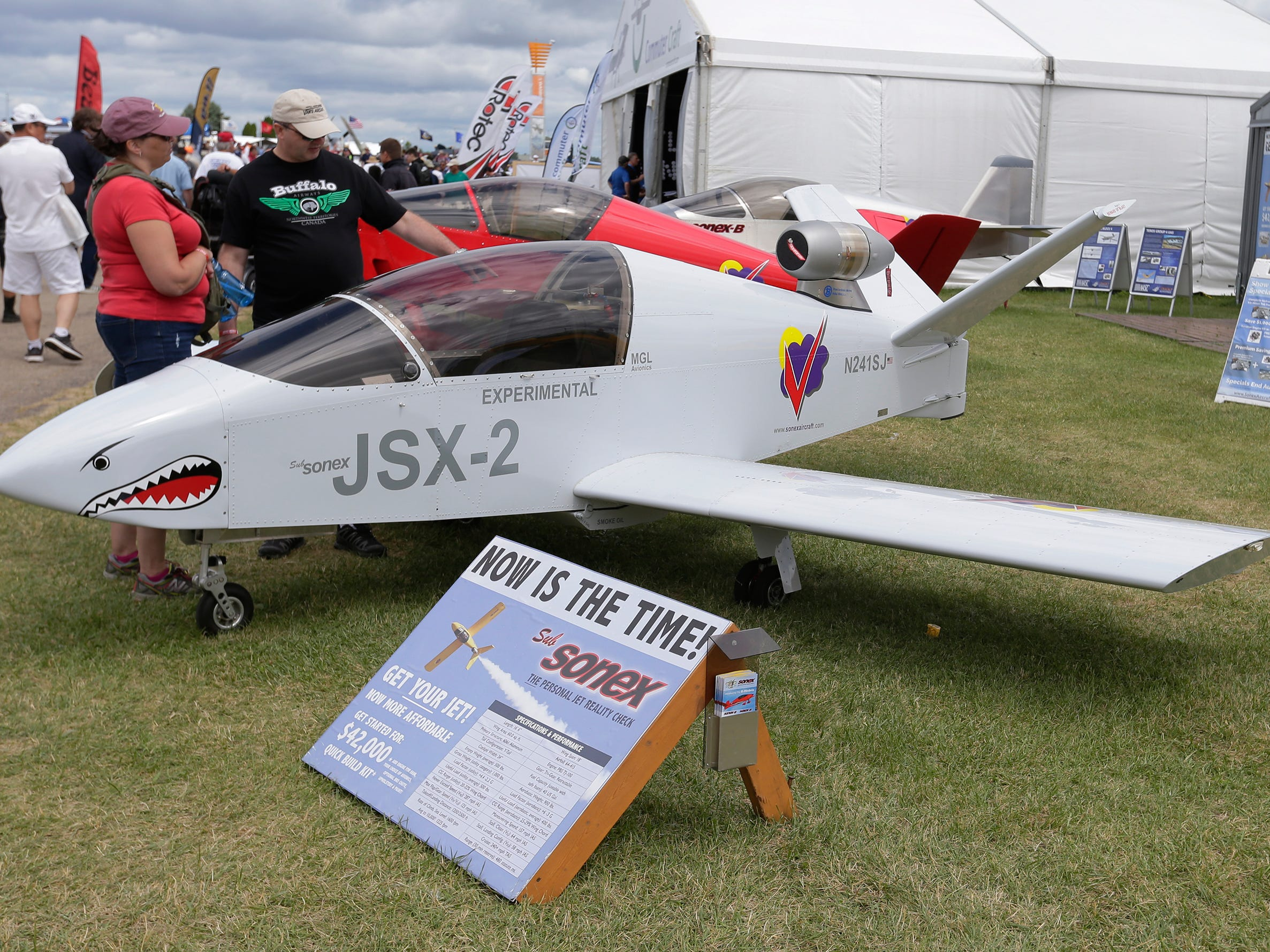 Sonex celebrates 20 years of their line of Sonex planes, based in Oshkosh they produce kit planes with either a jet engine or an aircraft engine, Thursday, July 26, 2018, in Oshkosh, Wis.  The 66th annual Experimental Aircraft Association Fly-In Convention, AirVenture 2018 draws over 500,000 people and over 10,000 planes from more than 70 nations annually to the area.  The convention runs through July 29.Joe Sienkiewicz/USA Today NETWORK-Wisconsin