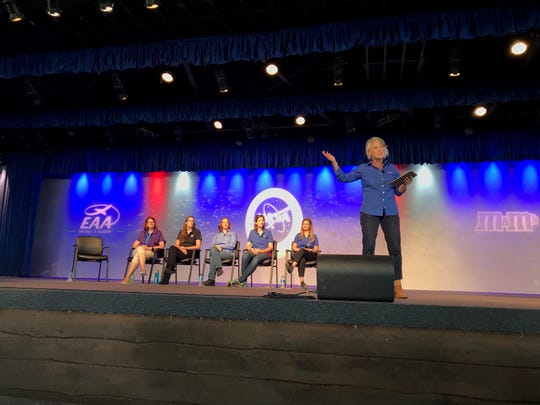 NASA spokeswoman Marcia Lindstrom introduces the Rocket Women panel including women working on the launch, spacecraft and rocket aspects of NASA's Orion mission.