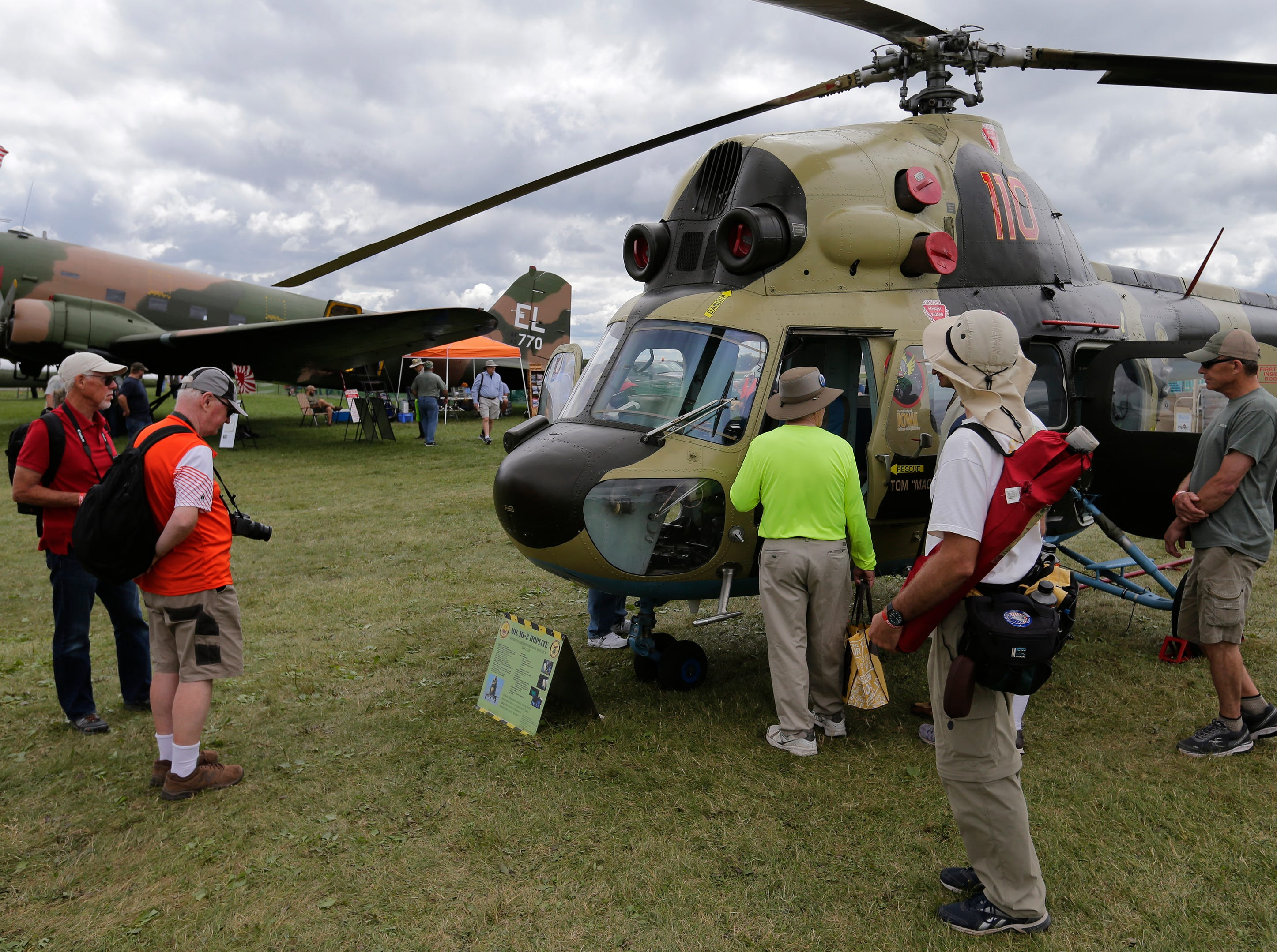 University of Iowa had their MIL-MI-2 Hoplite helicopter on display in the warbird area, Thursday, July 26, 2018, in Oshkosh, Wis.  The 66th annual Experimental Aircraft Association Fly-In Convention, AirVenture 2018 draws over 500,000 people and over 10,000 planes from more than 70 nations annually to the area.  The convention runs through July 29.Joe Sienkiewicz/USA Today NETWORK-Wisconsin