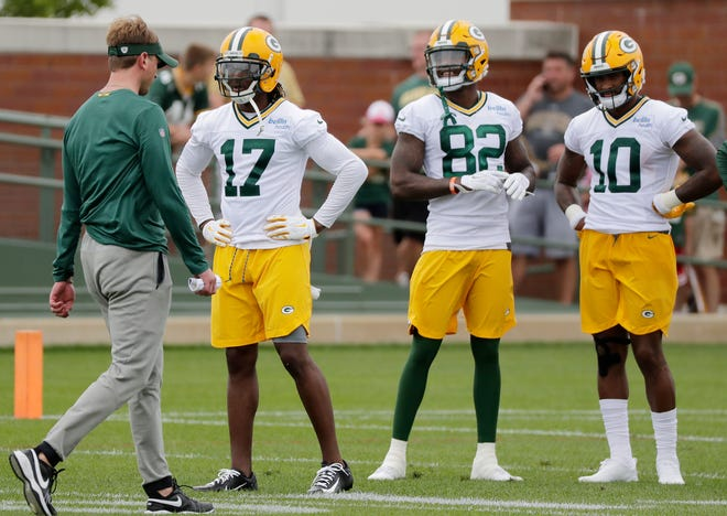 Green Bay Packers wide receivers Davante Adams (17), J'Mon Moore (82), and DeAngelo Yancey (10) lineup during training camp practice at Ray Nitschke Field on Thursday, July 26, 2018 in Ashwaubenon, Wis. 